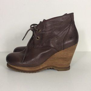 Lucky Brand Brown Leather Wedge Booties